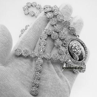 Mens Classic Silver Finish Fully Iced Out Super Clean Cluster Rosary