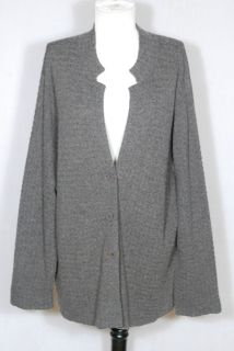EILEEN FISHER Woman brown mandarin collar sweater cardigan jacket sz