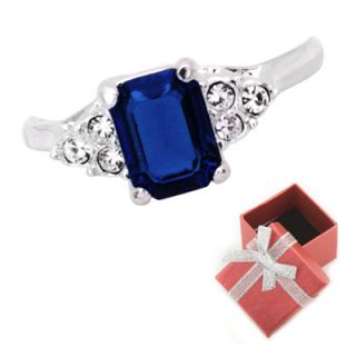 8ct Blue Sapphire CZ Emerald Cut Solitaire Ring