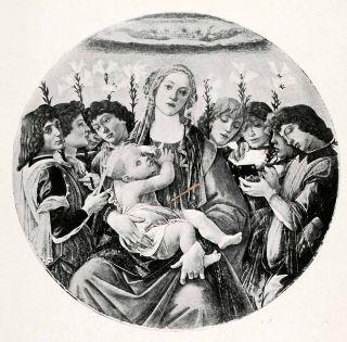 1903 Print Botticelli Painting Religious Art Virgin Mary Jesus St John