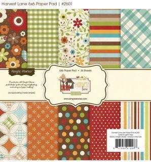 Simple Stories Fall/Autumn ~HARVEST LANE~ 6x6 Paper Pad Scrapbook 36p