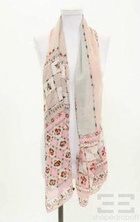 emilio pucci pink beige silk wool printed scarf