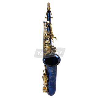 New Alto EB Brass Saxophone Sax Blue with Abalone Shell Button More