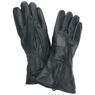 Leather Motorcycle Biker Riding Gloves Zippered Cuff Medium
