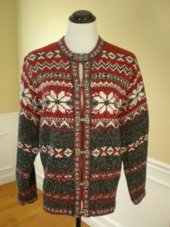 Croft Barrow NWOT Red Charcoal White Heathered Fair Isle Cardigan