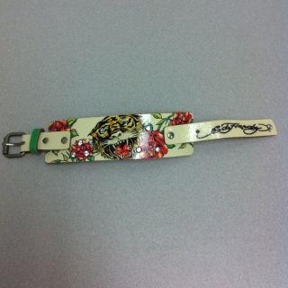 Ed Hardy Christian Audigier Leather Rhinestone Wrist Band Bracelet