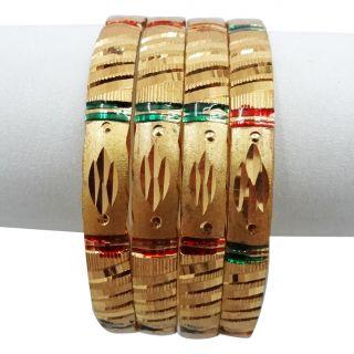 Gold Plated Red Green Enamel Bangle Set Indian Wedding Wear Bracelet