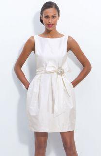 Eliza J Jeweled White Ivory Sleeveless Satin Tulip Dress Wedding