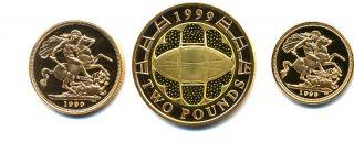 1999 queen elizabeth ii 3 coin gold proof sovereign set