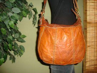 Burnt Orange Distressed Leather Fossil Shoulder Crossbody Bag Used