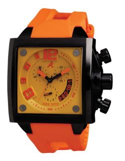New Adee Kaye Mens Persona Collection Orange Dial Square Quartz Watch