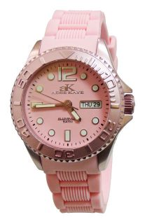 New Adee Kaye Ladies Diver Pink Dial Date Watch AK5433 L