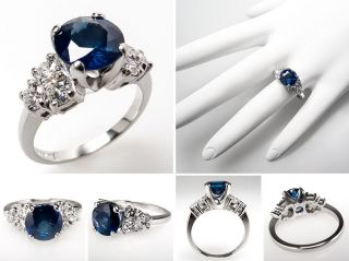 Carat Blue Sapphire & Diamond Engagement Ring Platinum skuwm8022
