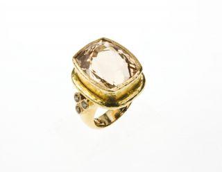 Elizabeth Locke Yellow Gold Ring with Yellow Beryl and Diamonds