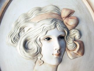 Plaque 1909 Woman Art Deco Erma Gilliland Duncan Ceramic Bisque