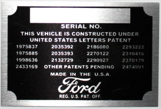 Number Data Plate Engine Identification Tag Patent Plate Street Rod
