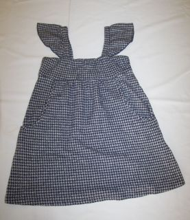 ELLA MOSS girl navy blue white knit houndstooth jumper dress uniform