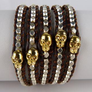 Chan Luu Silver Gold Skull Brown Leather Wrap Bracelet