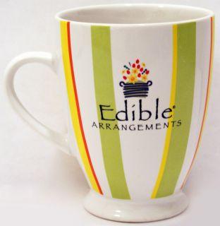 Edible Arrangements Large Coffee Mug White Striped Ceramic Cup