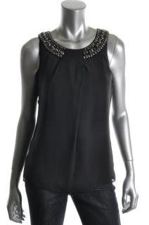 Ellen Tracy New Black Embellished Pleated Scoop Neck Tank Top Shirt 14
