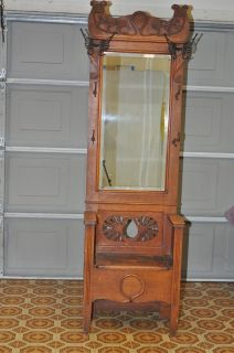 Antique Oak Entry Hall Tree With Storage Bench Beveled Mirror