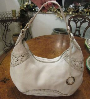 Elliott Lucca White Leather Hobo Bag