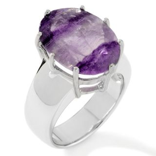 7ct Purple Namibian Fluorite Sterling Silver Oval Ring at