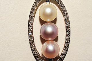 40mm 25ct Natural Multi Colored Pearl Diamond Pendant