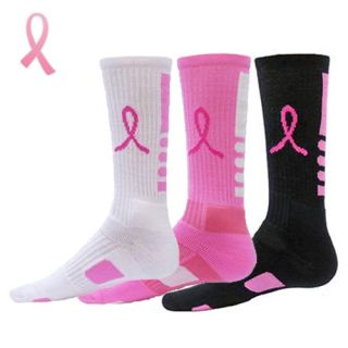 Pink Elite Socks Breast Cancer Awareness Elite Pink Ribbon Crew Socks