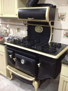 Elmira Stove Works Black w Gold Trim