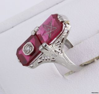 Eastern Star 14k White Gold Diamond Syn Red Spinel Masonic Ring