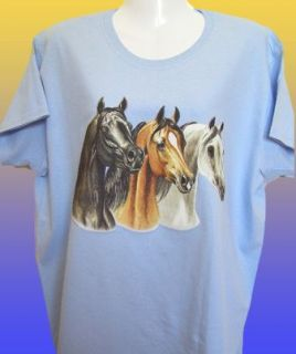 New Horse T Shirt 3 Arabian Horse Heads Riding Clothing Ladies Girls