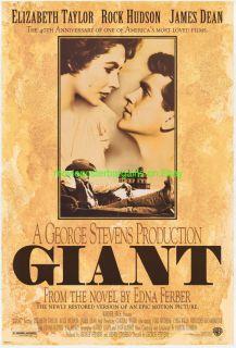 Giant Movie Poster R1996 Elizabeth Taylor James Dean