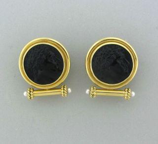 Elizabeth Locke 18K Yellow Gold Carved Onyx Pearl Earrings