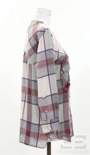 Etoile Isabel Marant Pink & Light Blue Plaid Cotton Shirt Size 1