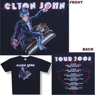 Elton John Rocket Man 2008 Tour Black T Shirt L New