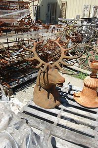 Large Cast Iron Elk Head Lodge Decor Garden Decor
