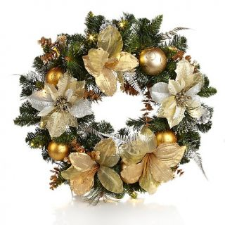 "Winter Lane Battery Operated 24"" LED Glitzy Wreath with Ornaments at"