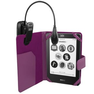 Executive Leather Wallet Case For Kobo eReader Touch   Purple + LED