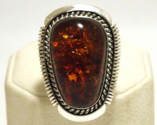 Navajo Orange Flecked Amber Sterling Silver Womens Ring Eugene Belone