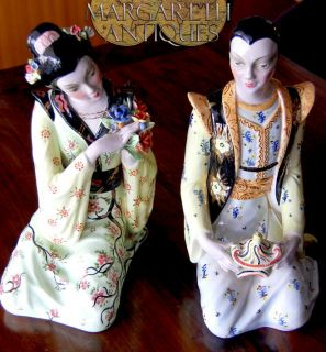 Eugenio Pattarino firenze style Italian ceramic Pair figurine oriental