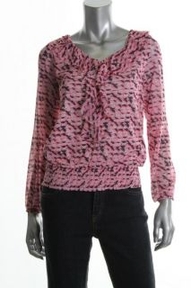 Ellen Tracy New Pink Pattern V Neck Smocked Cascade Ruffled Blouse Top