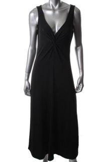 Ellen Tracy New Black Knot Front V Neck Sleeveless Maxi Wear to Work