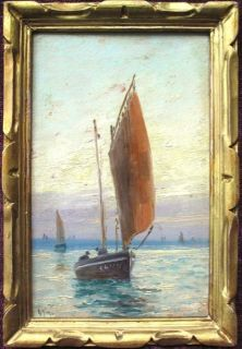 Emile Gauffriaud 1877 1957 French Marine Impressionist Oil Boats Coast
