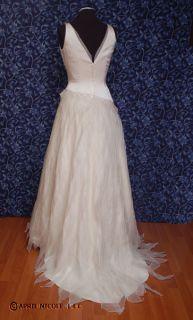 Cream Silk Satin & Organza Unique Sleeveless Wedding Dress 6 NWD