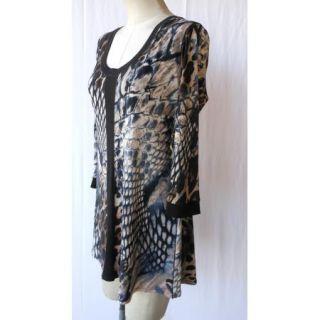Eva Varro Black Animal Print Tunic Top 3X 3 4 Sleeves