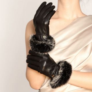 Black M ELMA Lady Winter warm nappa leather Gloves Gold Plated logo
