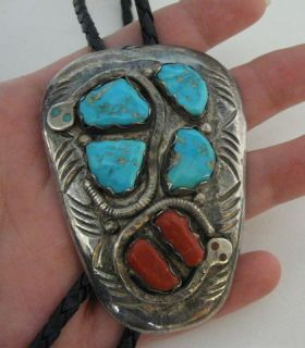 Heavy Large 3 Effie C Calavaza Zuni Bolo Sterling Silver Turquoise