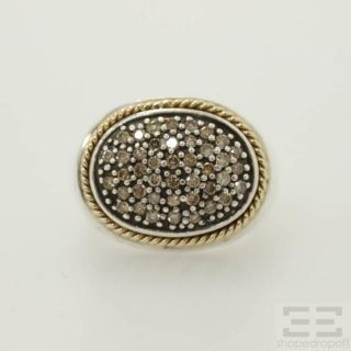 Effy 18K Gold Sterling Silver Diamond Ring Size 6 75