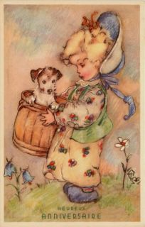 Artist Signed Erna Maison Birthday Girl Dog in Basket Vintage Postcard